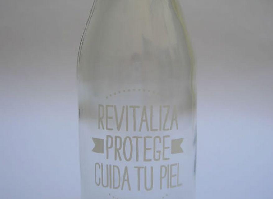 Botella de vidrio 350 cc impresa a 1 color
